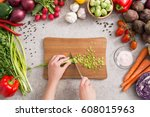 cooking prepare food women... | Shutterstock . vector #608015963