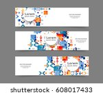 set of web banner templates for ... | Shutterstock .eps vector #608017433