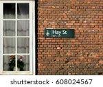 hay street signboard  avenue in ... | Shutterstock . vector #608024567