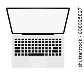 top view laptop white... | Shutterstock .eps vector #608025827