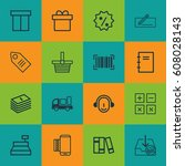 set of 16 e commerce icons.... | Shutterstock .eps vector #608028143