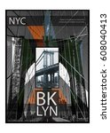 photo print  montage brooklyn... | Shutterstock . vector #608040413