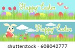 colorful bright banner with... | Shutterstock .eps vector #608042777