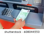 a bundle of money from one... | Shutterstock . vector #608044553