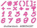 numbers and signs in pink... | Shutterstock .eps vector #608056187