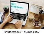 job career hiring recruitment...   Shutterstock . vector #608061557