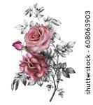 watercolor flowers. floral... | Shutterstock . vector #608063903