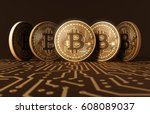 five virtual coins bitcoins on... | Shutterstock . vector #608089037