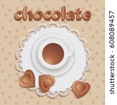 hot chocolate with chocolate... | Shutterstock .eps vector #608089457