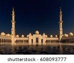 sheikh zayed grand mosque abu...   Shutterstock . vector #608093777