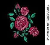 red roses embroidery on black... | Shutterstock .eps vector #608106863