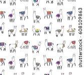 Lama Animal Vector Pattern