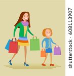 flat style vector mother and... | Shutterstock .eps vector #608113907