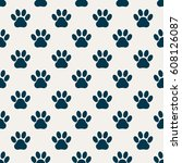 light gray pattern from paw... | Shutterstock .eps vector #608126087