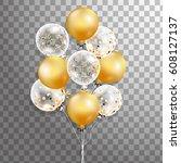 3d  holiday illustration bunch... | Shutterstock . vector #608127137