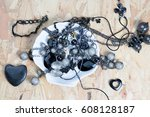 pile of assorted black chains... | Shutterstock . vector #608128187
