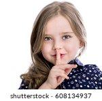 little girl requires silence.... | Shutterstock . vector #608134937