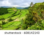 agriculture field mountain... | Shutterstock . vector #608142143