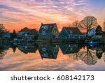 sunset lake houses landscape | Shutterstock . vector #608142173