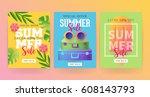 summer sale banner template set ... | Shutterstock .eps vector #608143793
