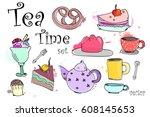 tea time elements vector set | Shutterstock .eps vector #608145653