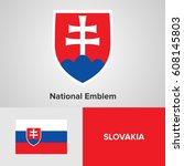 slovakia national emblem and... | Shutterstock .eps vector #608145803