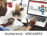 interaction online community... | Shutterstock . vector #608164853