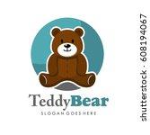 cute teddy bear illustration... | Shutterstock .eps vector #608194067