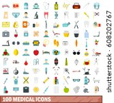 100 medical icons set in flat... | Shutterstock .eps vector #608202767