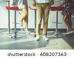 half body down of one man and... | Shutterstock . vector #608207363