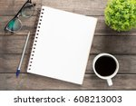 office atable with blank...   Shutterstock . vector #608213003