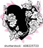 heart of rose tattoo vector