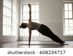 young attractive yogi woman... | Shutterstock . vector #608234717