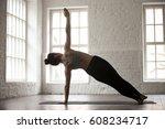 young attractive yogi woman...   Shutterstock . vector #608234717