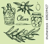olive branches   jar of... | Shutterstock .eps vector #608239427