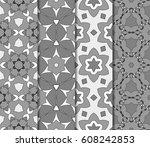 set of geometric pattern in... | Shutterstock .eps vector #608242853