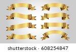 set of golden ribbons on gray... | Shutterstock .eps vector #608254847