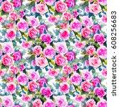 watercolor floral botanical... | Shutterstock . vector #608256683