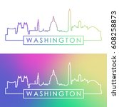 washington skyline. colorful... | Shutterstock .eps vector #608258873