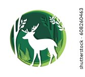 deer in forest vector cartoon... | Shutterstock .eps vector #608260463