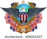 american eagle with usa flags | Shutterstock .eps vector #608261027