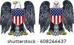 american eagle with usa flags | Shutterstock .eps vector #608266637