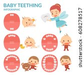 baby teething. tooth fairy.... | Shutterstock .eps vector #608278517