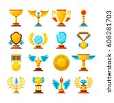 vector color trophy and awards... | Shutterstock .eps vector #608281703