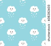 Stock vector cartoon clouds with water drops rain seamless pattern background 608282603
