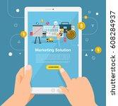 flat design concept learning... | Shutterstock .eps vector #608284937