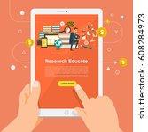 flat design concept learning... | Shutterstock .eps vector #608284973