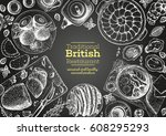 british cuisine top view frame. ... | Shutterstock .eps vector #608295293