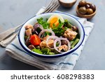 nicoise salad. healthy brunch.... | Shutterstock . vector #608298383