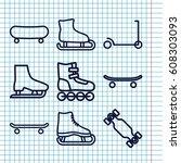 set of 9 skate outline icons... | Shutterstock .eps vector #608303093